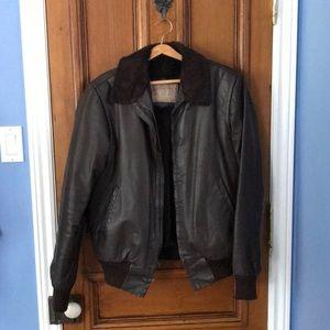 Vintage Aviator-Style Oxford Leather Jacket